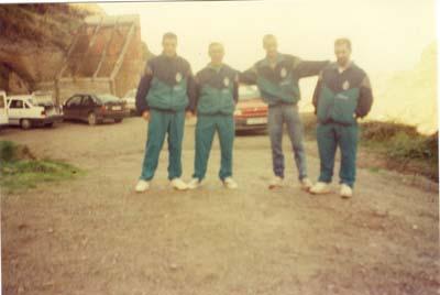 Campeonato de Asturias de Costa 1994, playa de los Molinos, (Oviñana).Suso,Angel,Cotarelo y Pepe.