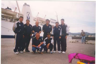 Angel y Suso con la selección Asturiana de pesca. Ibiza 1998.