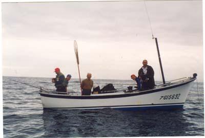 Pepe, pescando en popa,en el campeonato de Asturias .Luanco 1998