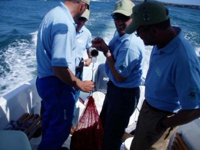Alegria entre los miembros del Club de Mar de Castropol, la pesca a sido buena.