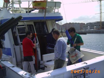 Suso, en la embarcación que le toco para disputar la segunda manga del campeonato.