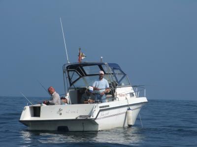 Equipo  B de la Sección de Pesca, en la embarcación Pez Espada.