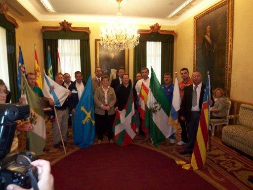 Banderas de los Clubes en el Ayuntamiento de Gijón.